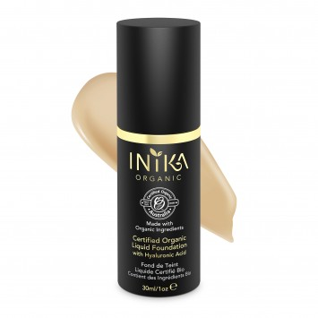 INIKA Organic Certified Organic Liquid Foundation with Hyaluronic Acid - Honey 30ml