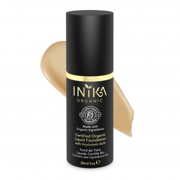 INIKA Organic Certified Organic Liquid Foundation with Hyaluronic Acid - Tan 30ml